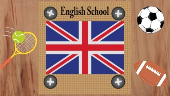 English school sign surrounded by a tennis racquet, a football and a rugby ball.