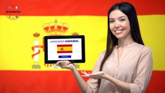 An adult student learning Spanish